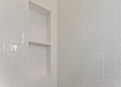 Room wooden white tiles wall